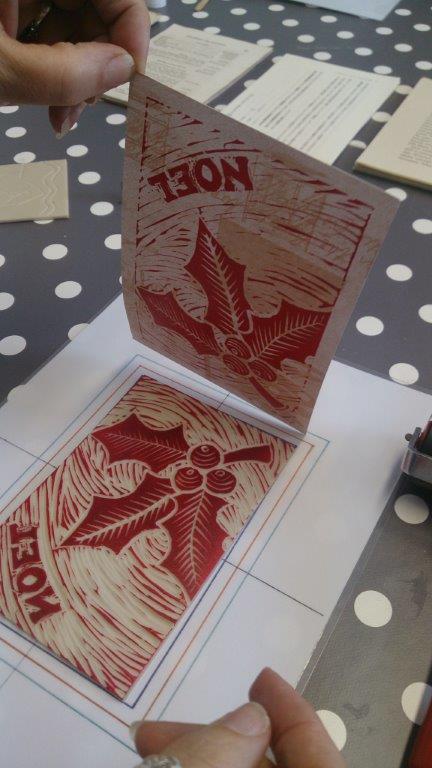 Lino cut print of holly leaf