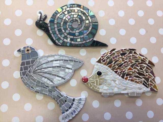 Snail, pidgeon and hedgehog mosaic