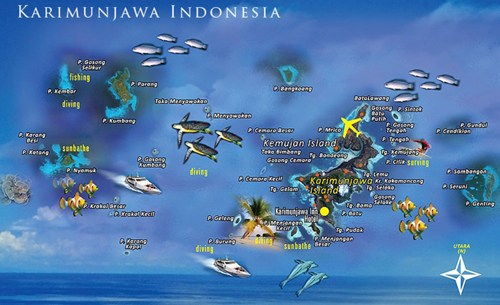 peta pulau karimunjawa jepara jawa tengah indonesia