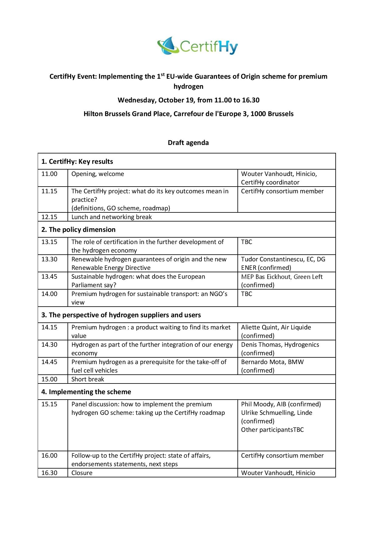 Draft Agenda_CertifHy Event