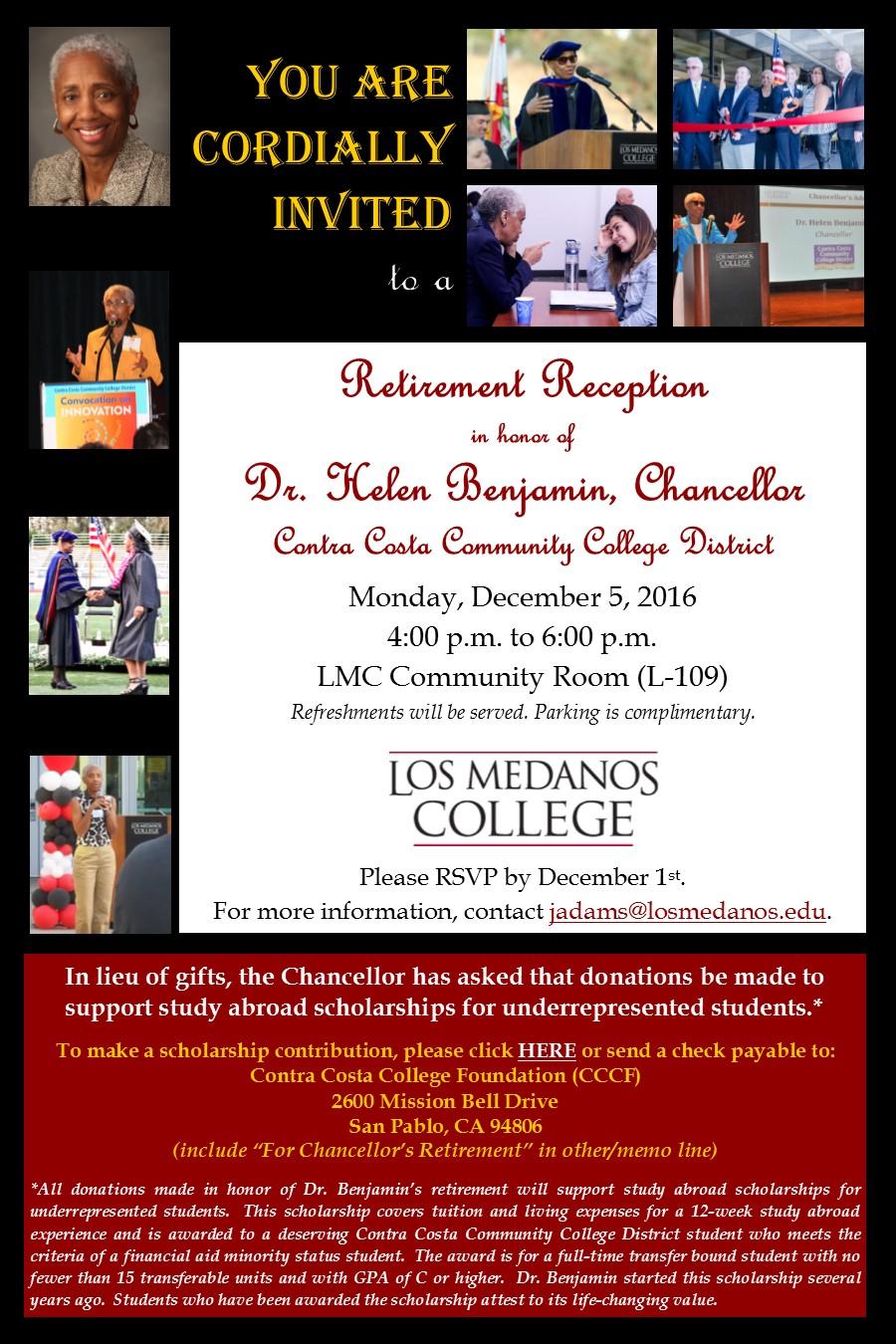 Invitation to Retirement Reception for Chancellor Benjamin