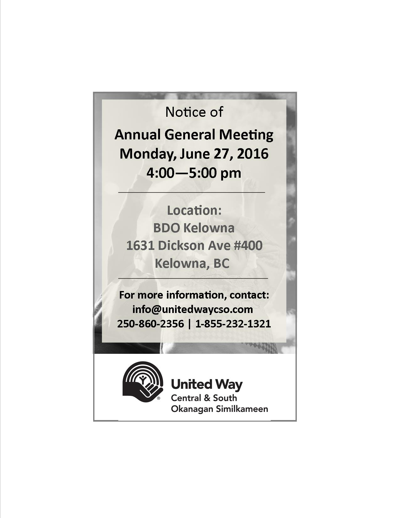 United Way CSO 2016 AGM