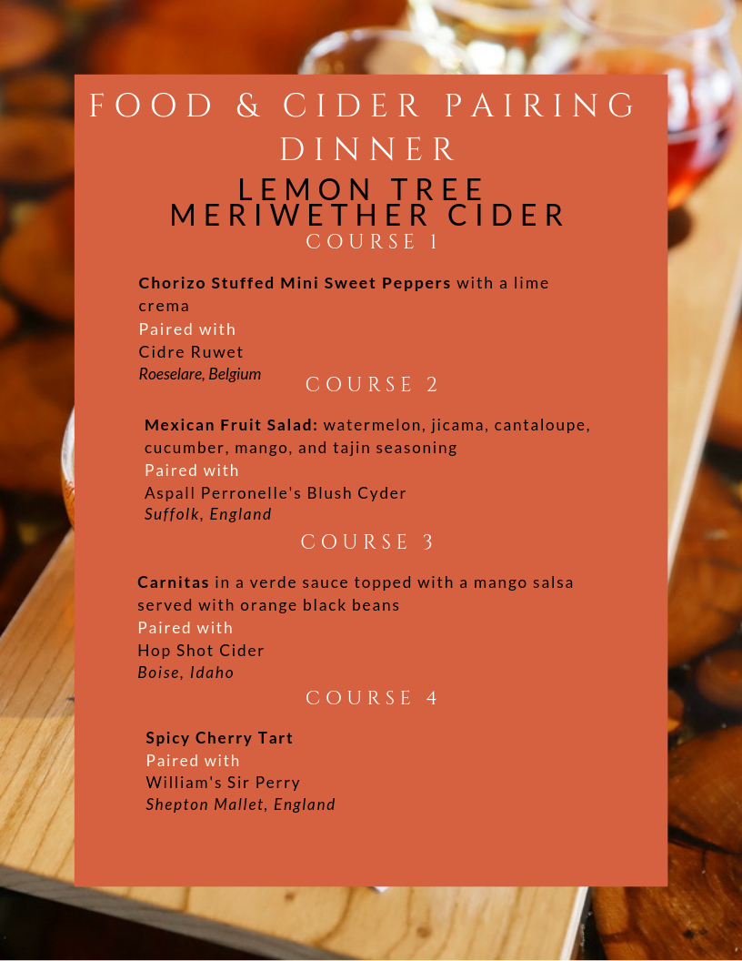 Menu for Cider Pairing with Lemon Tree Co.