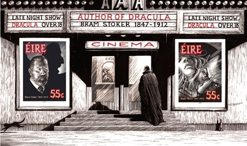 Dracula goes to the cinema stamp