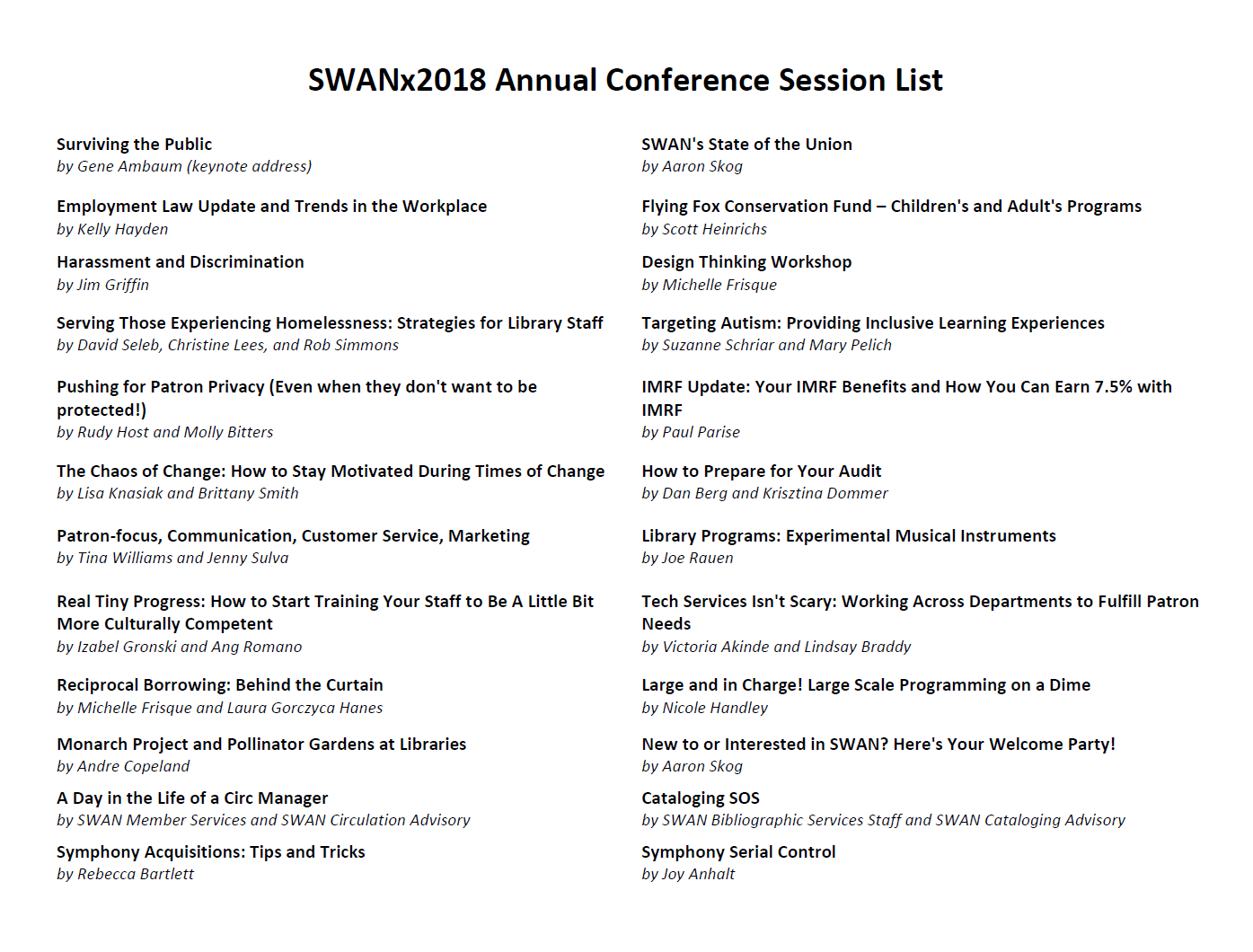 Full list of SWANx18 session titles