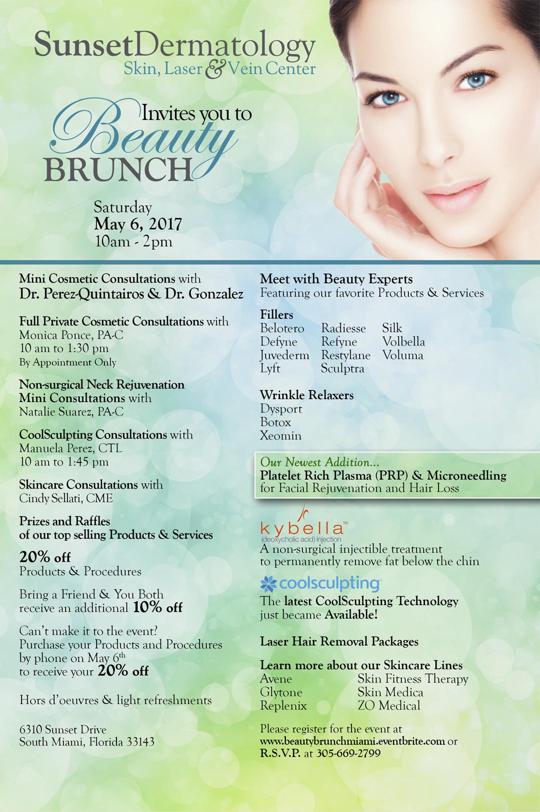Beauty Brunch South Miami, Sunset Dermatology