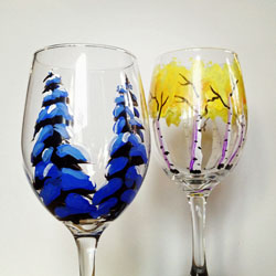 COLORADO TREES WINE GLASSES by Jesse Crock