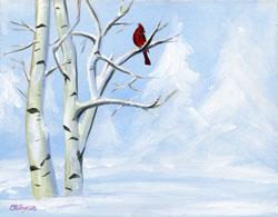 SNOW CARDINAL by Jeannette Stutzman