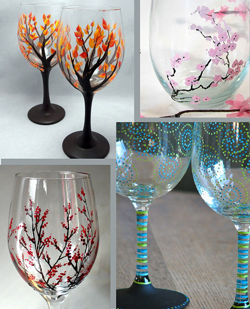 ASSORTED PAINTED WINE GLASSES