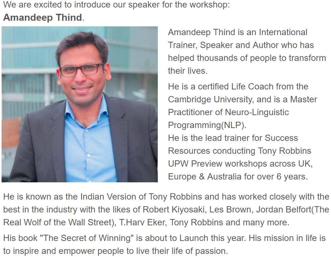 UPW Preview Amandeep Thind