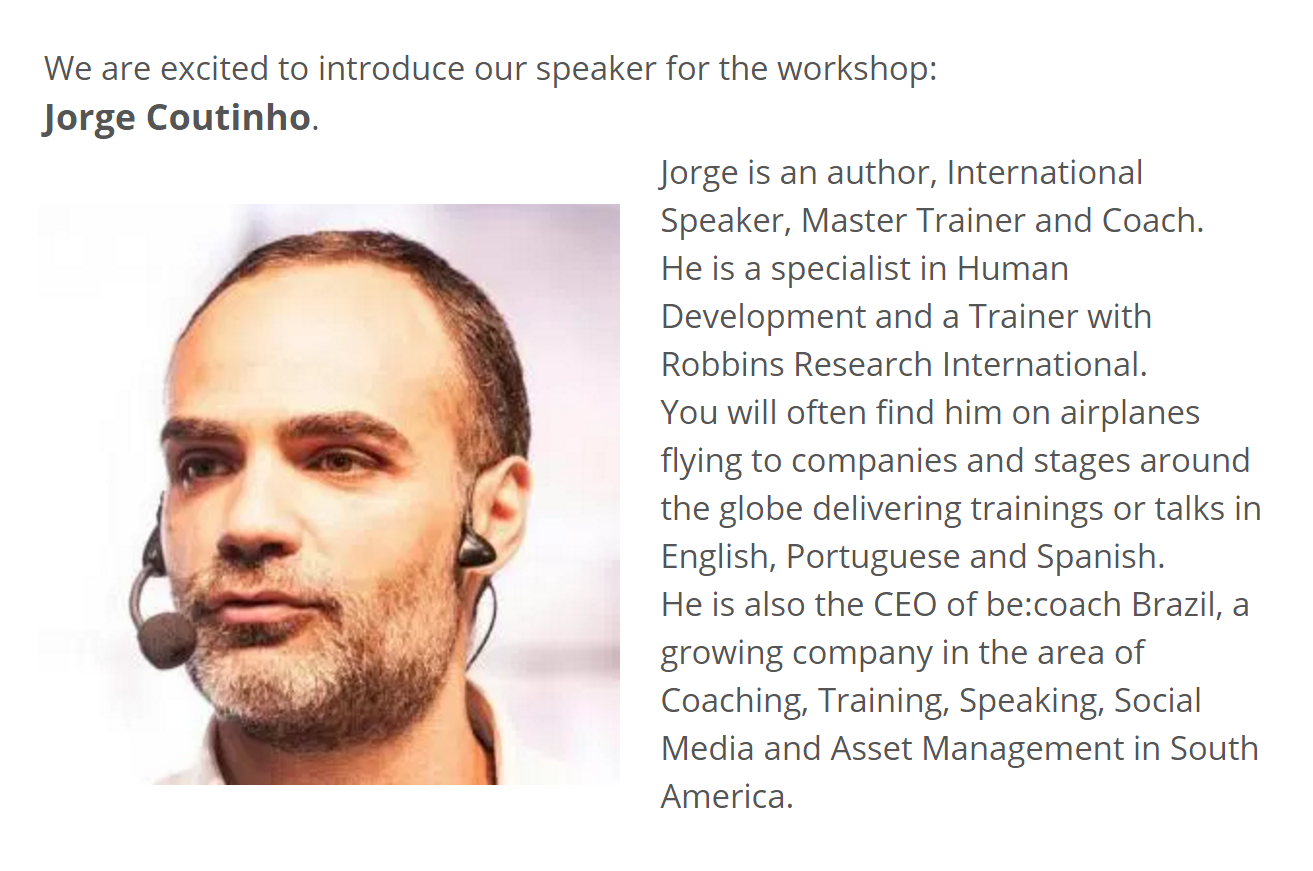 Picture and description of Speaker, Jorge Coutinho