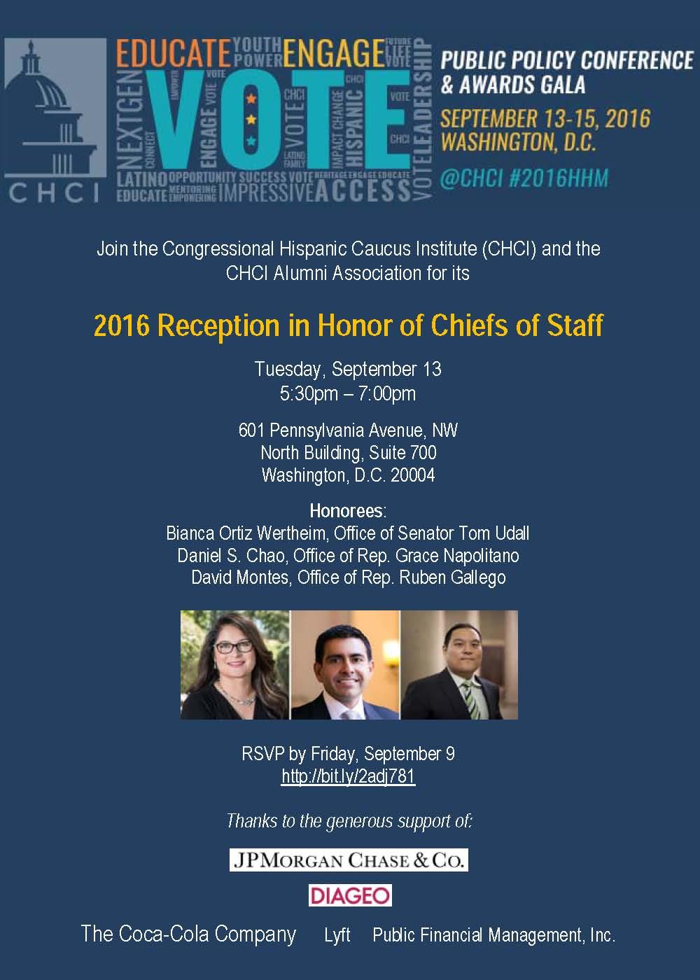 CHCI-AA Chiefs of Staff Reception Invite
