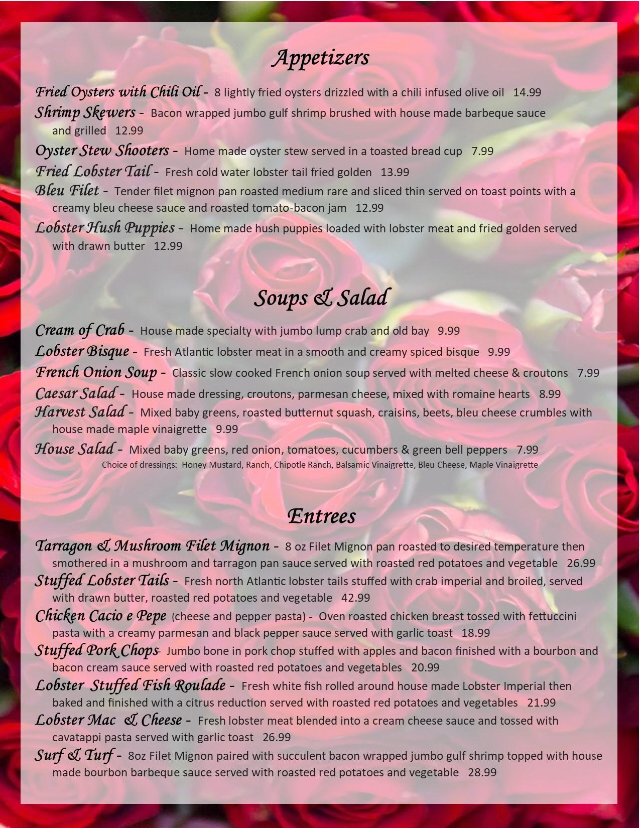 valentines day 2020 menu