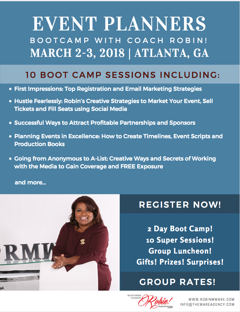 2018 event planners boot camp with coach robin atlanta event