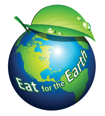 Eat for the Earth logo: Globe with fruit stem and leaf on top