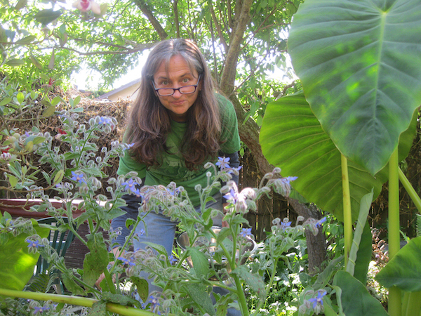 Ruth Poe in the garden
