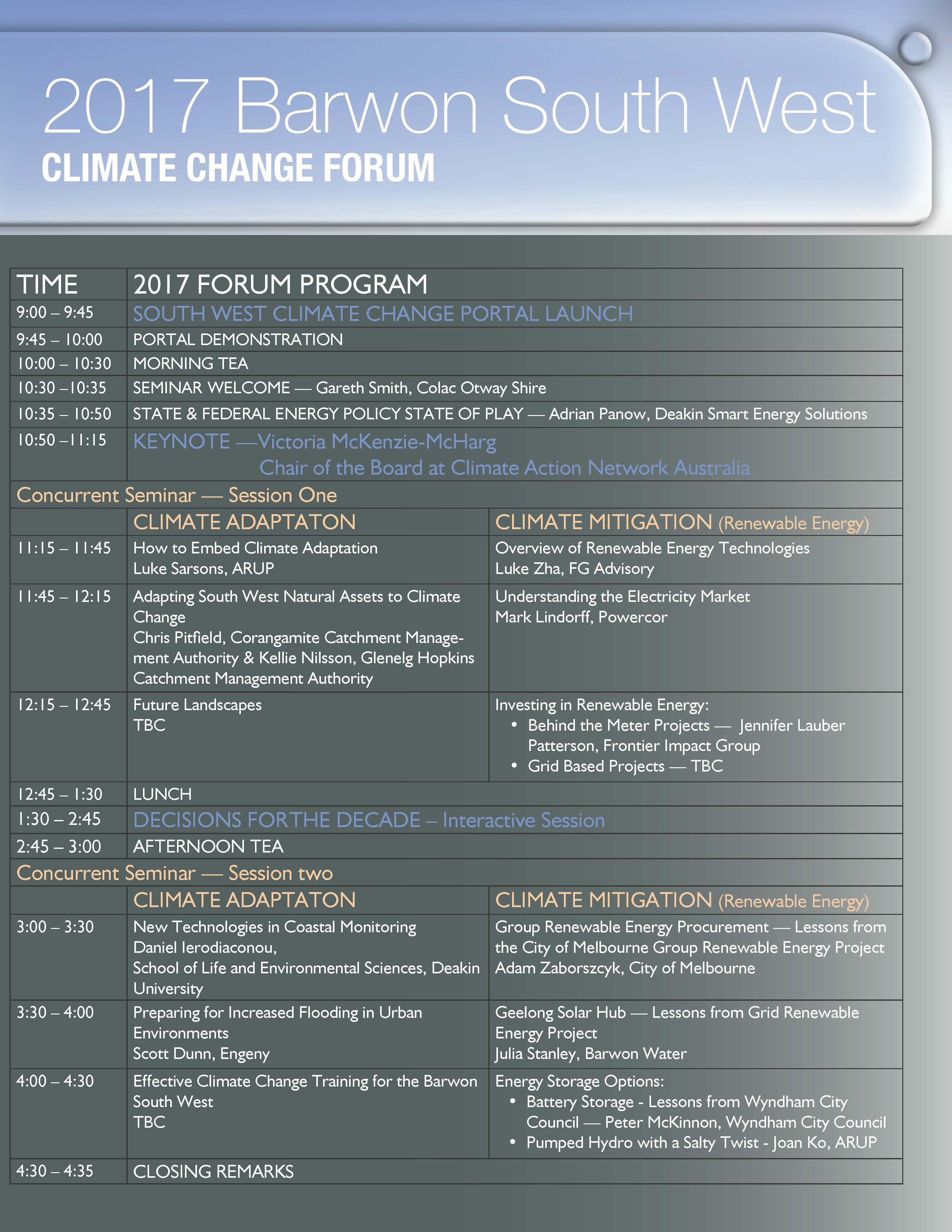 Barwon South West Climate Change Forum Program