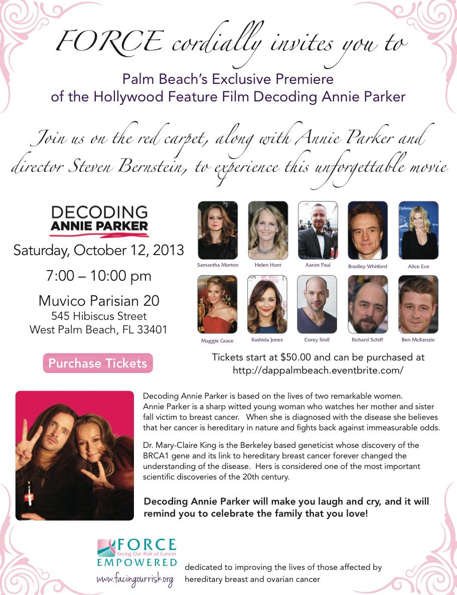 invitation to DECODING ANNIE PARKER movie 10/12