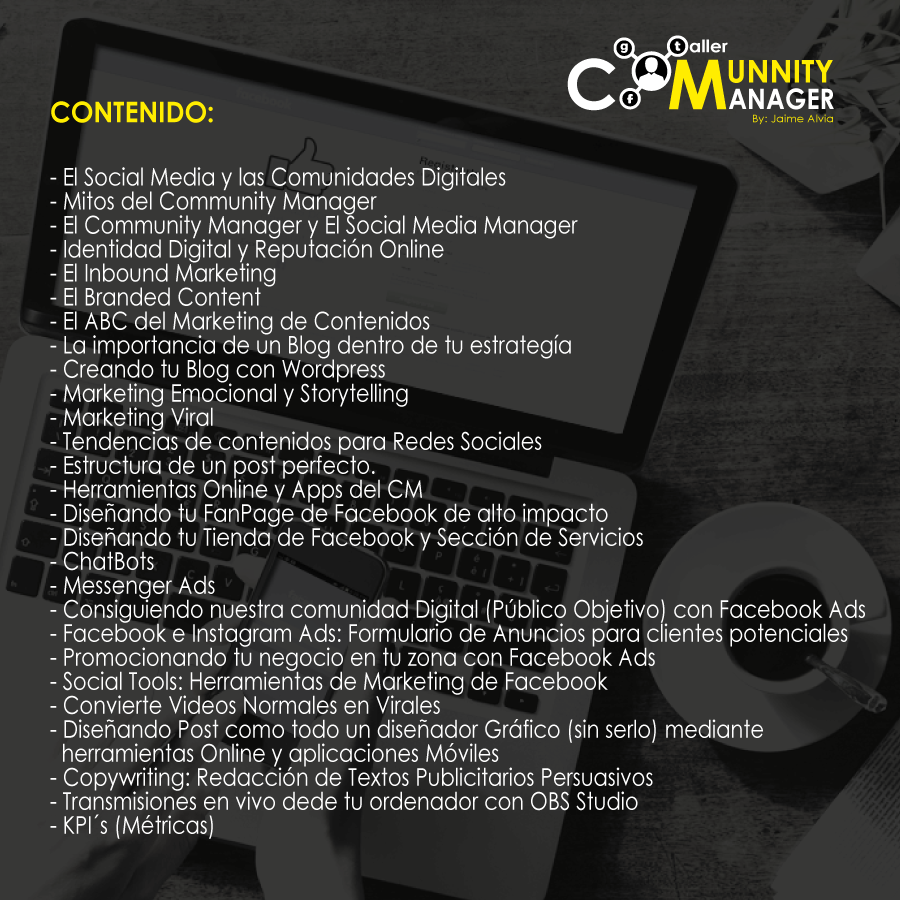 Contenido Taller Community Manager Guayaquil Agosto 2017