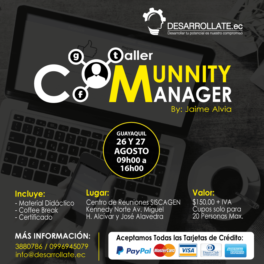 Taller Community Manager Guayaquil Agosto 2017