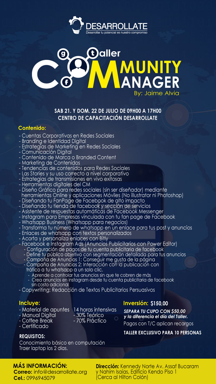 TALLER COMMUNITY MANAGER GUAYAQUIL BY JAIME ALVIA