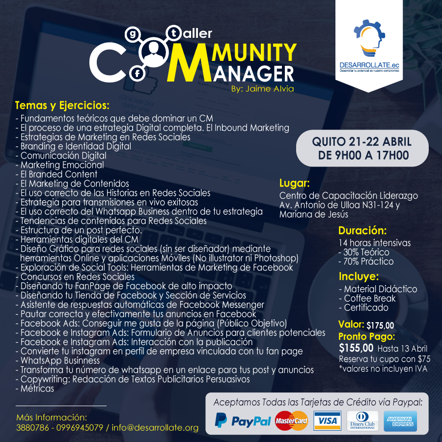 TALLER COMMUNITY MANAGER QUITO