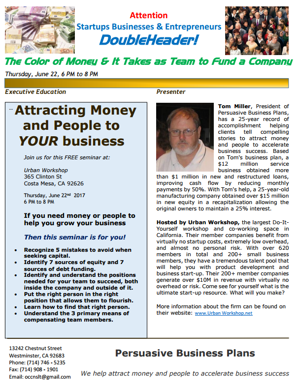 Free Small Business Seminar Flyer 6/22/2017
