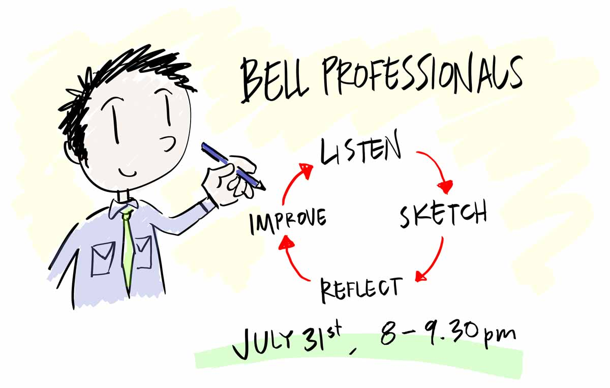 A sketch that reads Bell Professionals: Listen, Sketch, Reflect, Improve. July 31st, 8-9.30pm