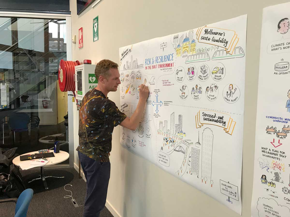 Matt sketching a City of Melbourne event