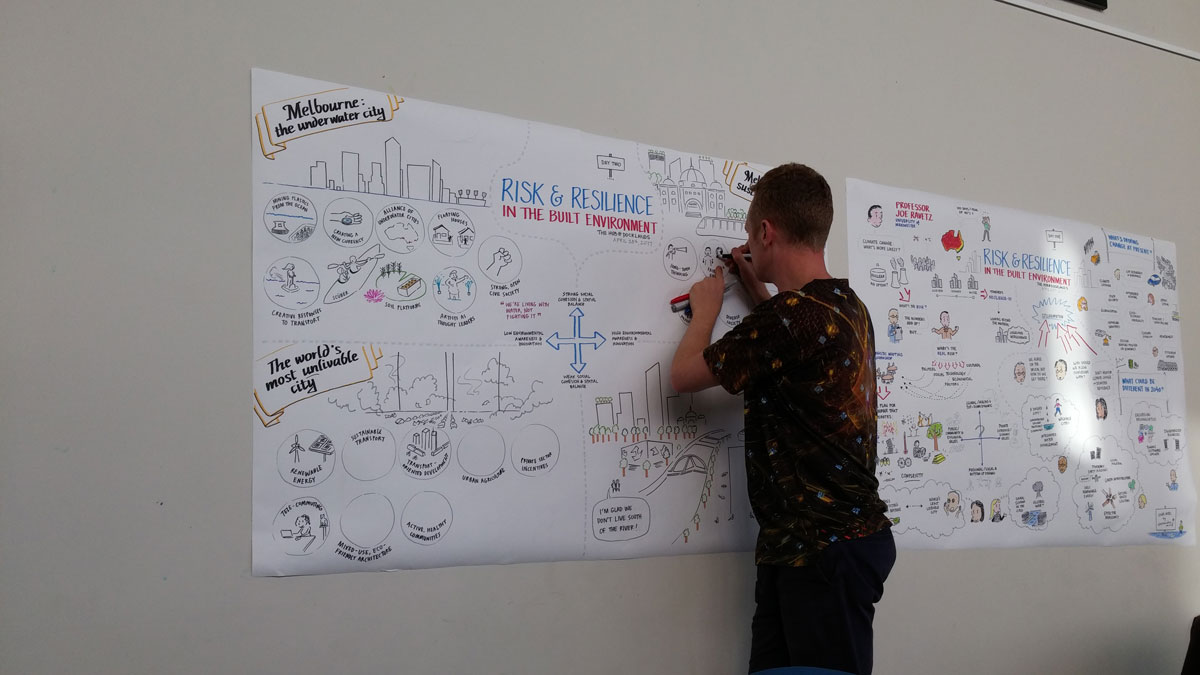 A photo of Matt taking real-time visual notes on a large canvas at an event