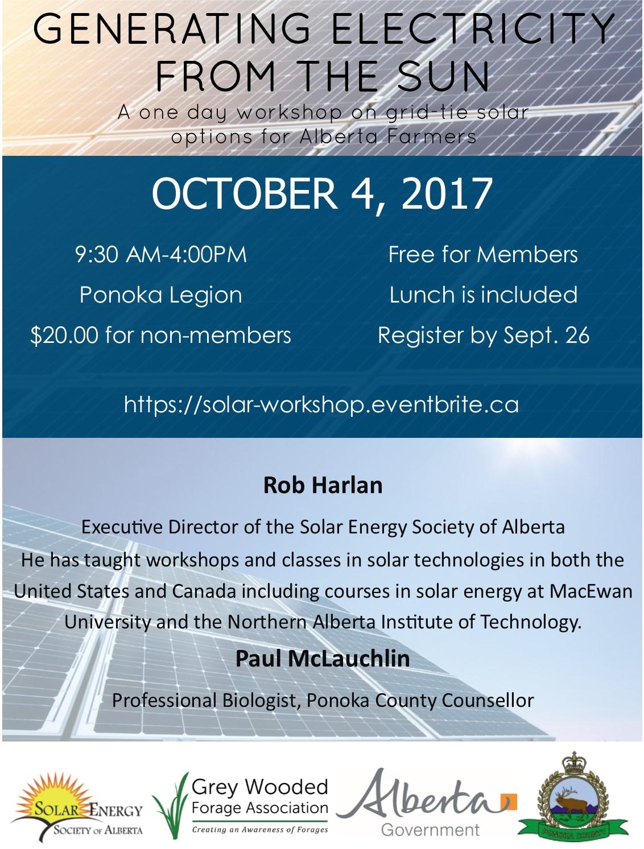 Solar Workshop Poster October 4, 2017 9:30-4:00 Ponoka Legion