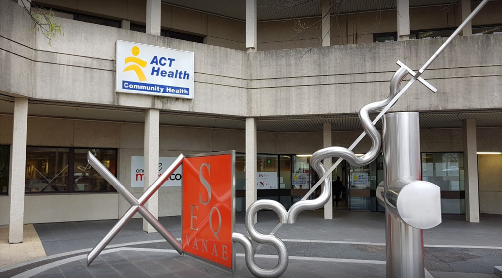 Sculpture in front of ACT community health building