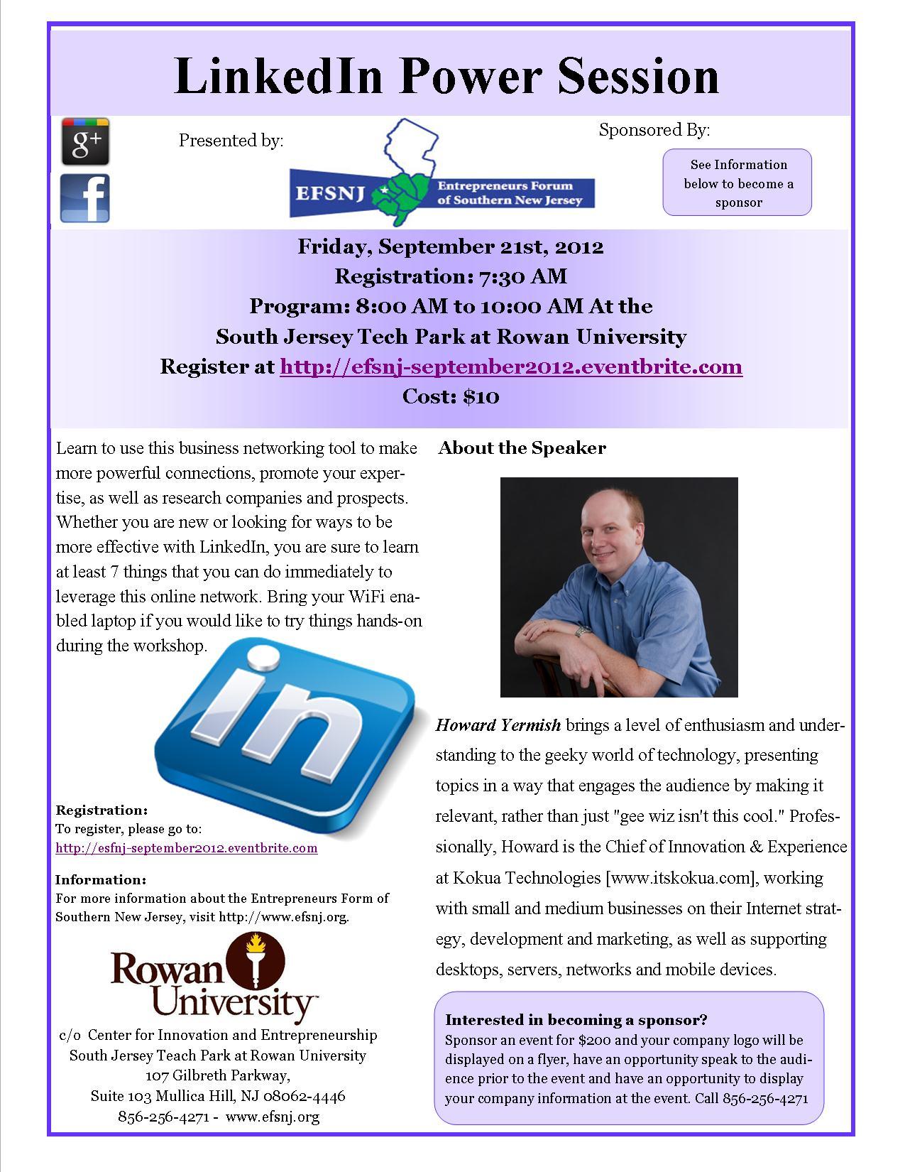 September Event EFSNJ - LinkedIn Power Session