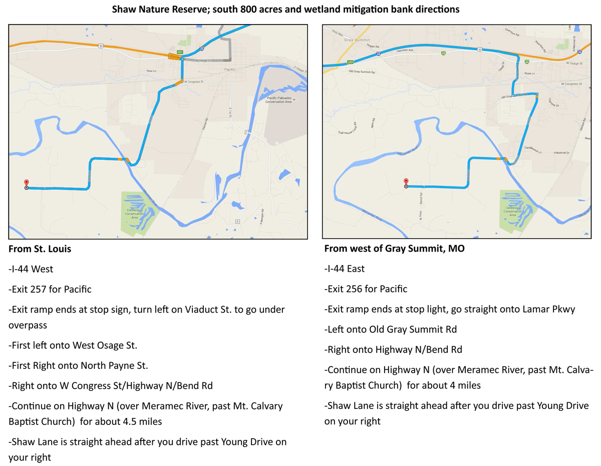 Directions to Shaw Nature Reserve worksite