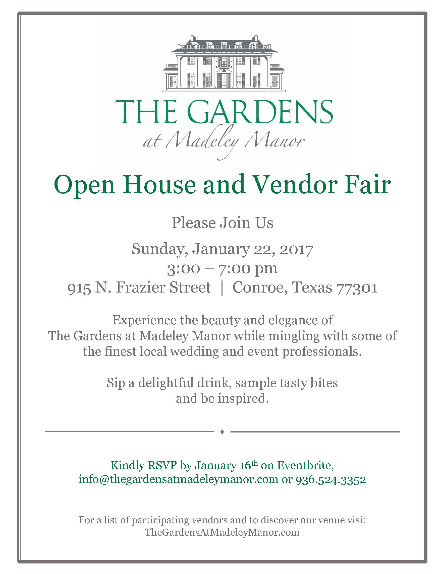 The Gardens At Madeley Manor Open House And Vendor Fair Registration Sun Jan 22 2017 At 3 00