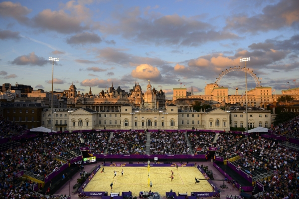 Donald Miralle (American, born 1974). Men's Beach Volleyball match between Brazil and Canada, London Olympics, The Horse Guards Parade ground, London, 2012. Archival inkjet print, 40 × 60 in. (101.6 × 152.4 cm). Leucadia Photoworks Gallery, courtesy of the artist.