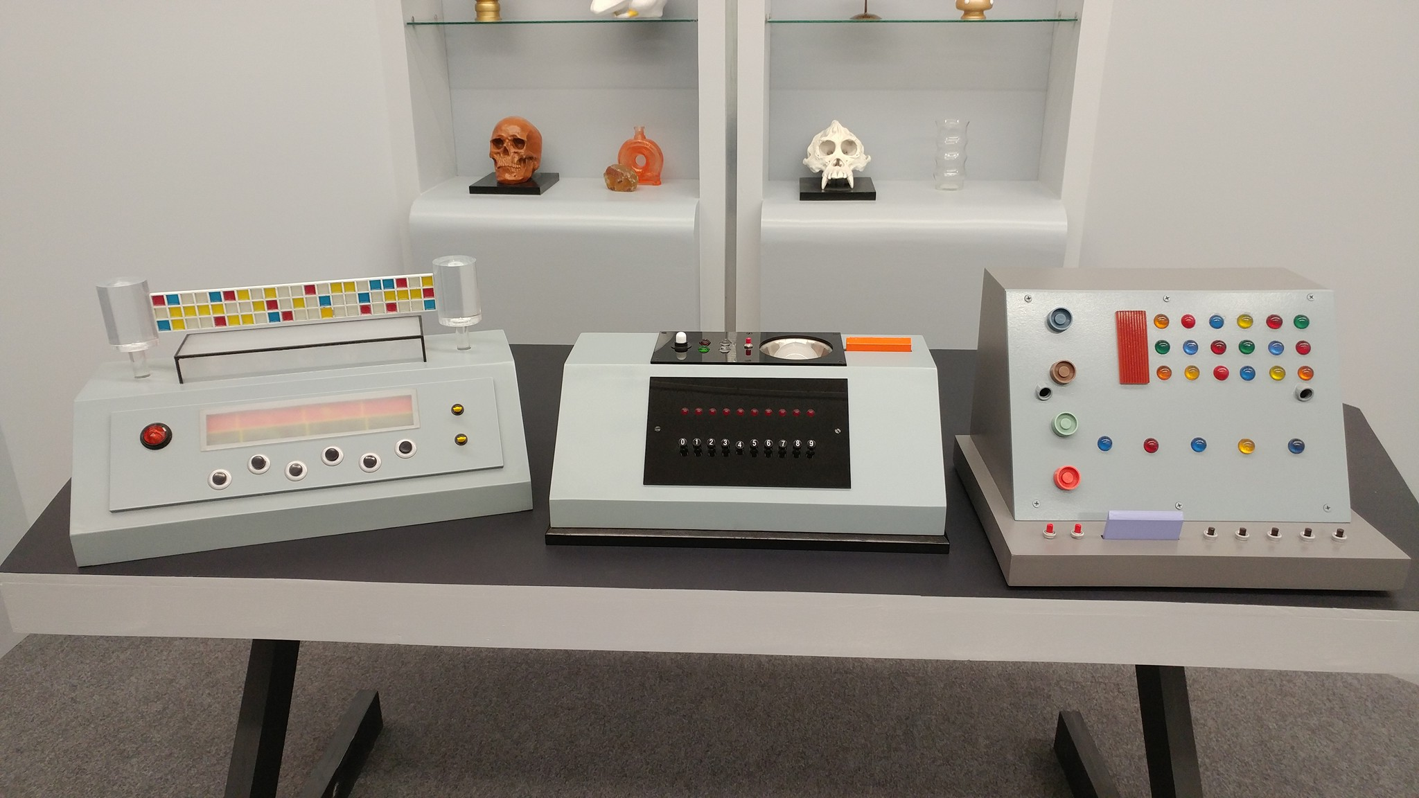 Some of the cdomputer replicas.