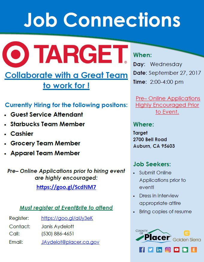 job connections target auburn september 27th tickets wed sep