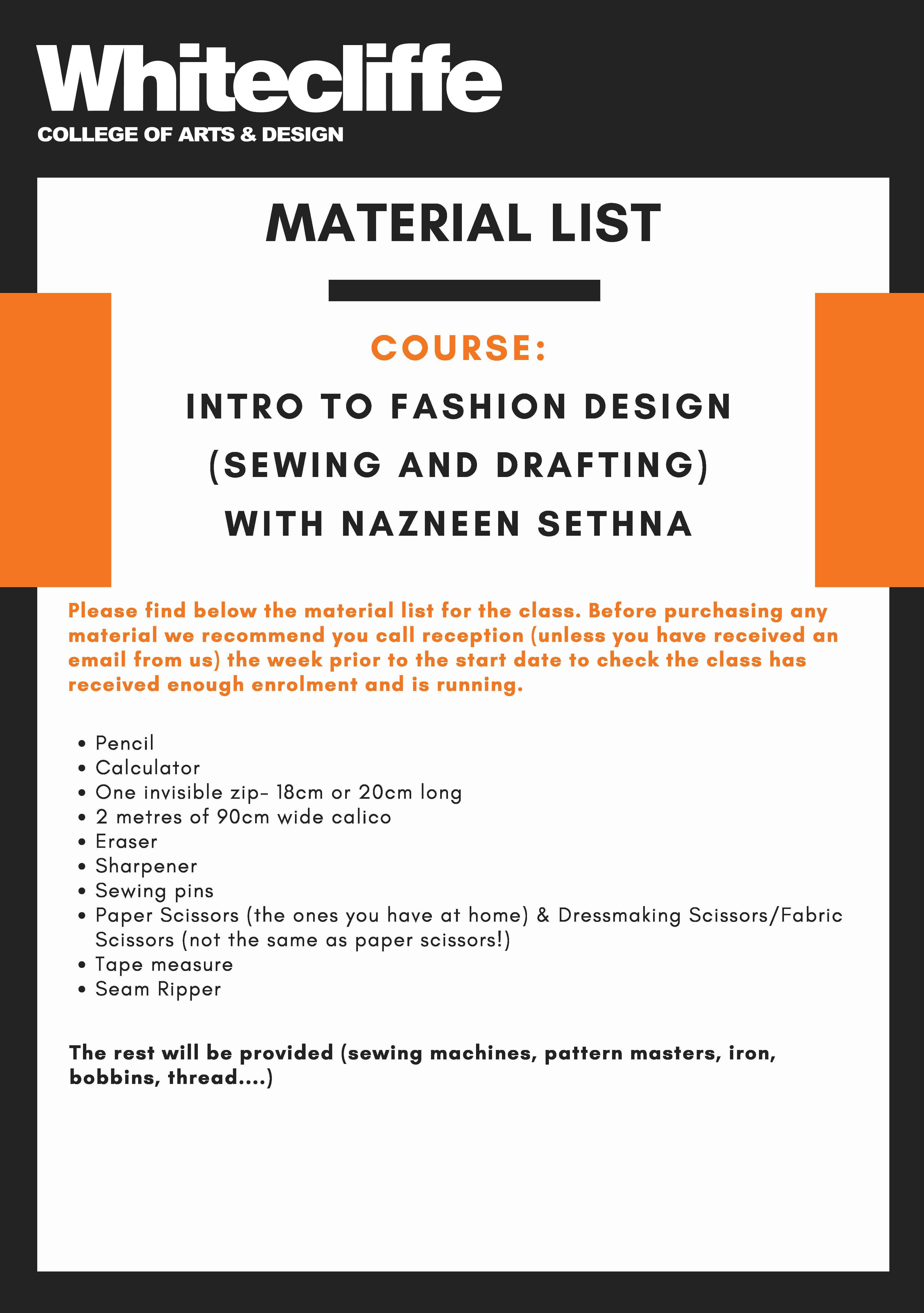 Intro Fashion Design Evening Course With Nazneen Sethna 6 Weeks Term 1 Wednesdays Alldesignevents