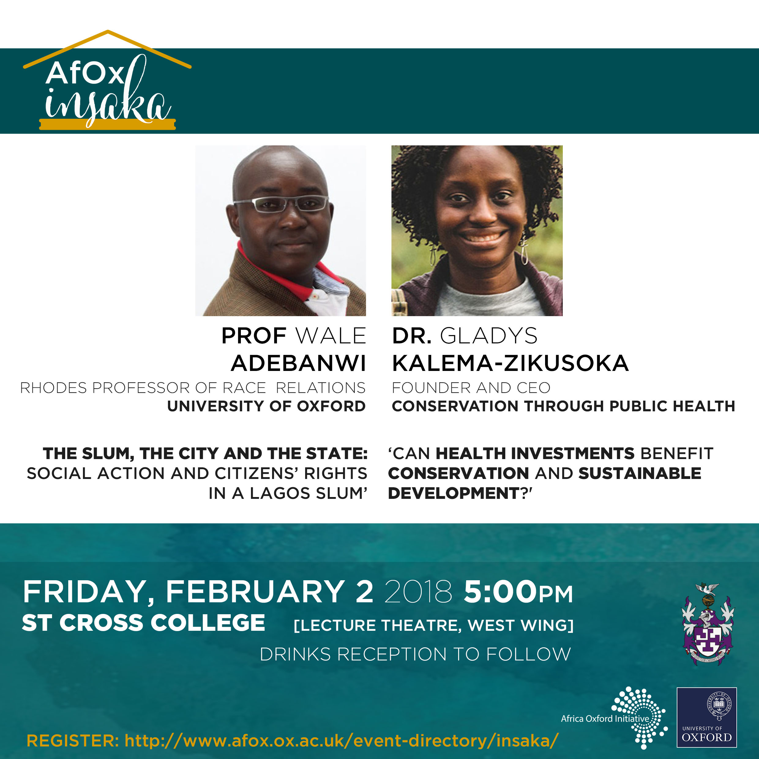 insaka poster showing date (2 february) time (5pm) and speakers