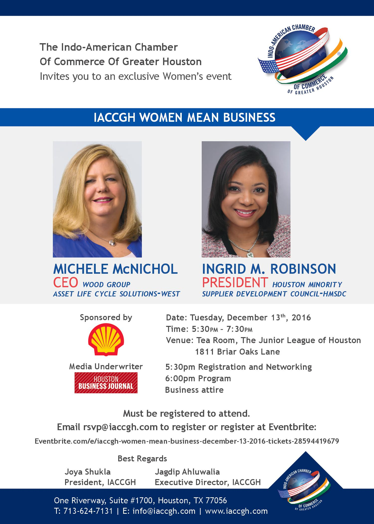 December 13 Women Mean Business Event
