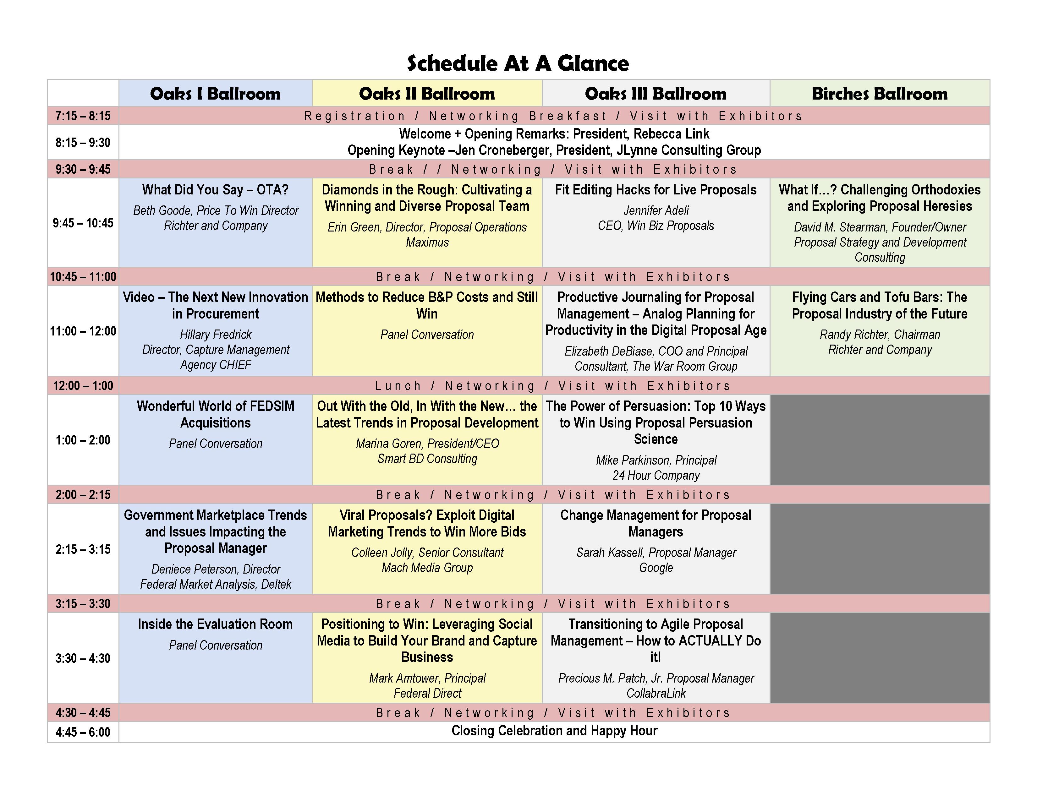 2018 Schedule