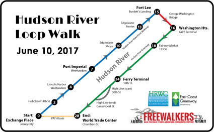 Outline map for the Hudson River Loop Walk