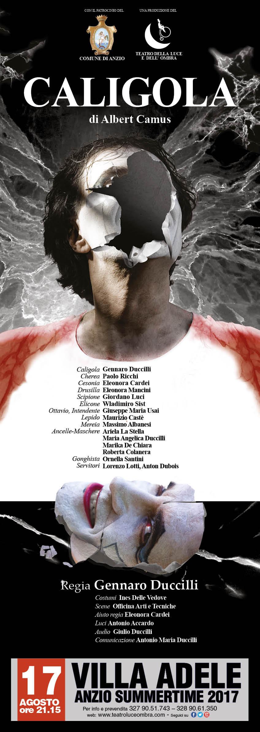 Locandina spettacolo Caligola, spettacolo teatrale a Villa Adele, Anzio