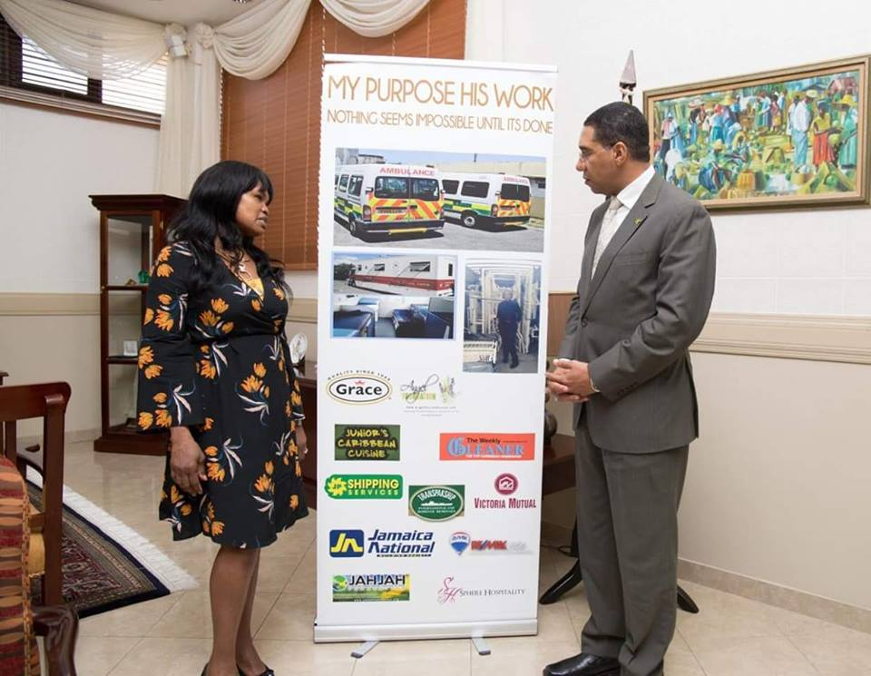 Angelia Christian with Hon Andrew Holness Prime Minister of Jamaica
