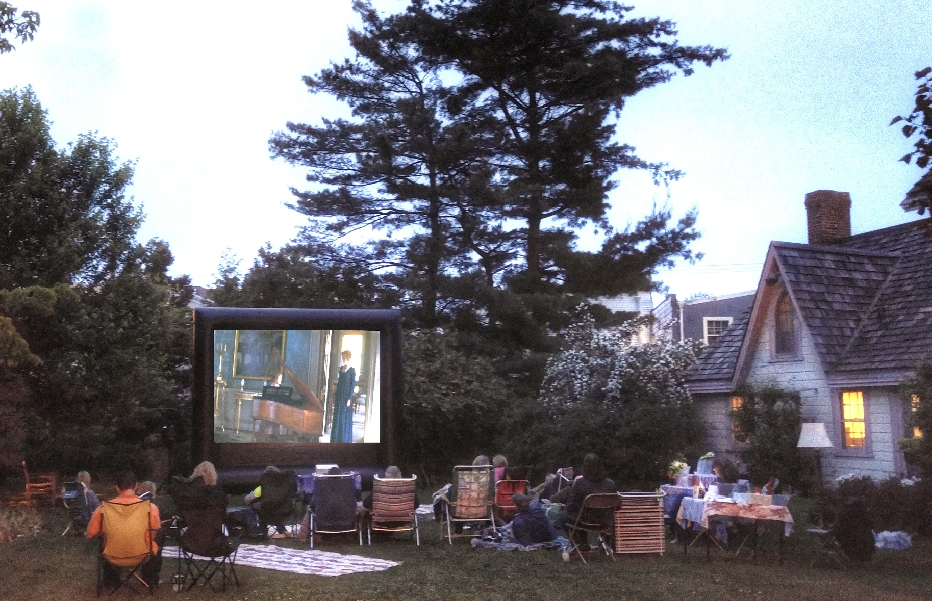 Photograph of Sense & Sensibility being shown in our Victorian Garden