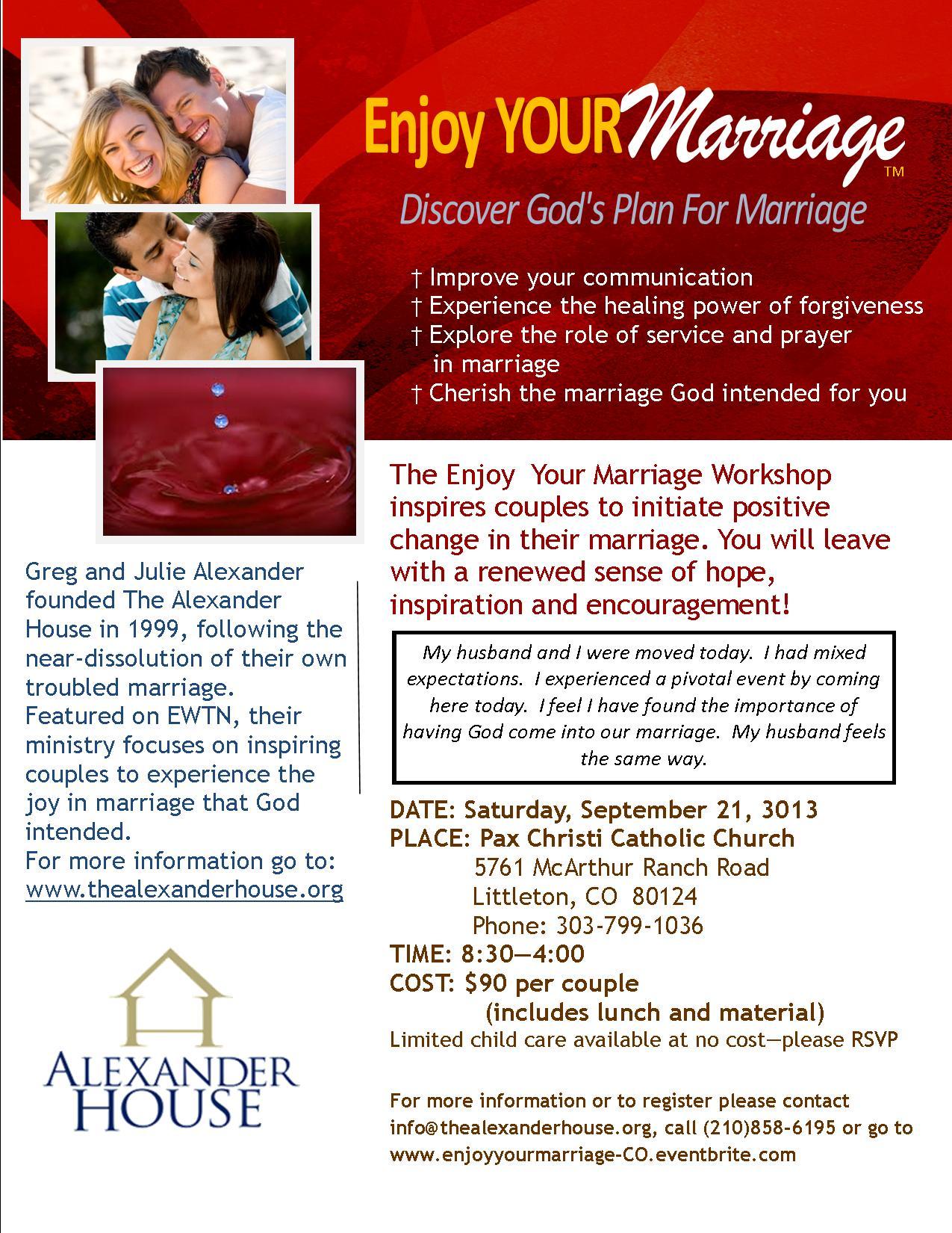 ENJOY YOUR MARRIAGE WORKSHOP - COLORADO