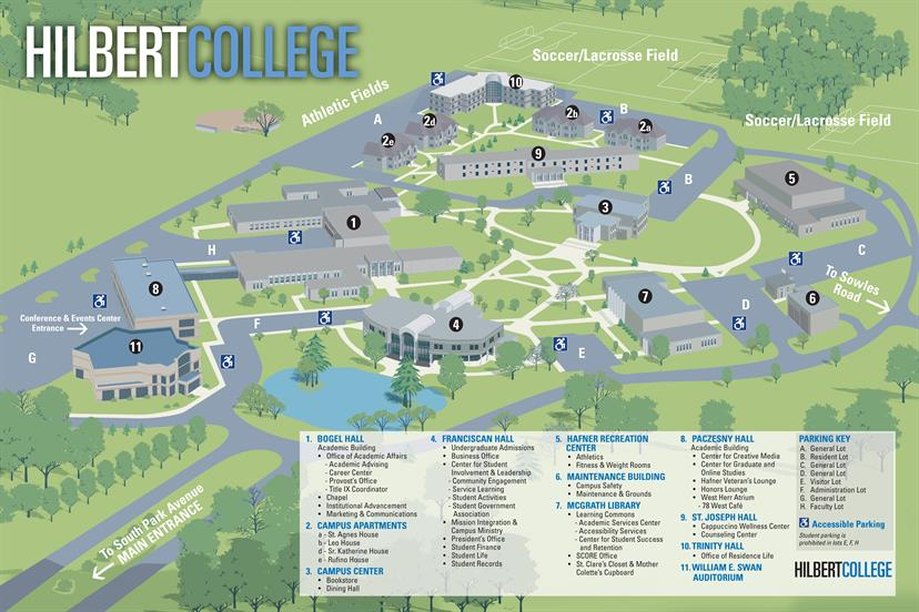 map of Hilbert College campus