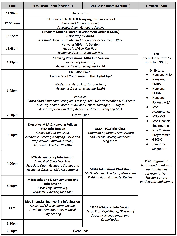 NTU NBS Grad Fair 2018 Agenda