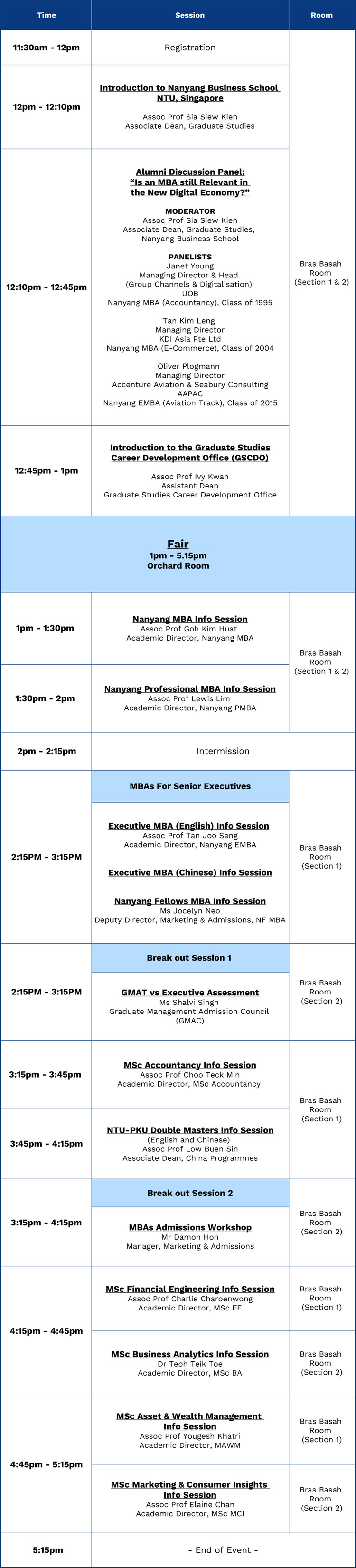 Event Agenda